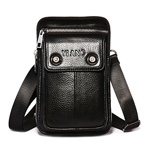 y Bags for Men, Leather Anti Theft Shoulder Purse Travel Messenger Satchel Waist Bag Pack (Black, Coffee Color),Father ()