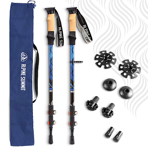 Alpine Summit Trekking Poles Collapsible Hiking / Walking Sticks with Carrying Bag, 100% Tungsten Tips, Ultralight, Anti-shock, Sweat Absorbing Cork Grips, Flip Locks