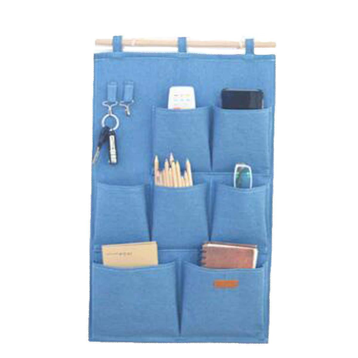 SMART HOME CHEF Denim Fabric Over Wall Door Closet Window Hanging Storage Case Organizer Bag 7-Pocket Wall Hanging Multipurpose Accessory Organizer with 2 Hooks
