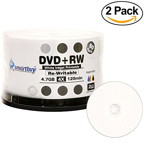 100 Pack Smartbuy Blank DVD+RW 4x 4.7GB 120Min White Inkjet Hub Printable Rewritable DVD Media Disc by Smartbuy