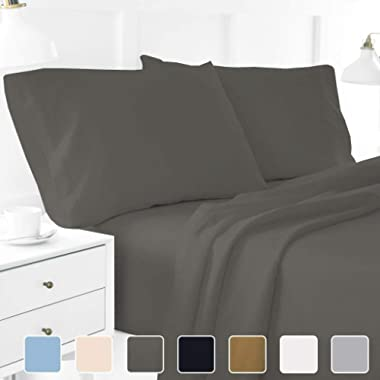 4-Piece Hotel Luxury Bed Sheets - Premium Collection 1800 Series Ultra-Soft Brushed Microfiber Sheet Set - Hypoallergenic - Wrinkle Resistant - Deep Pocket fits upto 16  (Queen, Dark Grey)