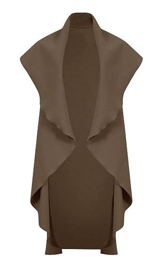 Ladies Womens Waterfall Open Front Sleeve Top Cape Cardigan Coat Blazer UK 8-14