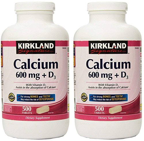 Kirkland Signature, Calcium 600 mg + D3 500 Count CVLac (Pack of 2)