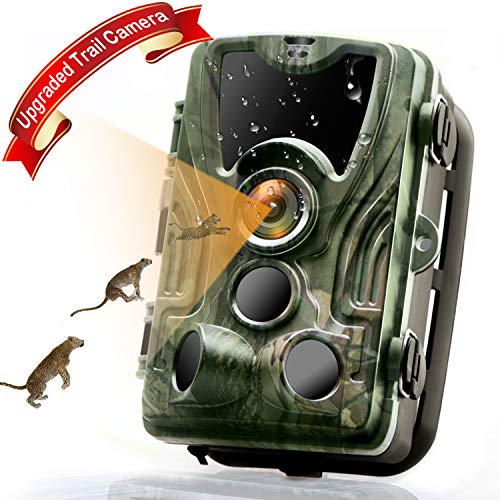 Trail Camera, 16MP 1080P HD 80ft Detection Range【Upgraded 2019】 Wildlife Game Camera Night Vision 120° Wide Angle, 940nm IR LEDs, 2.0