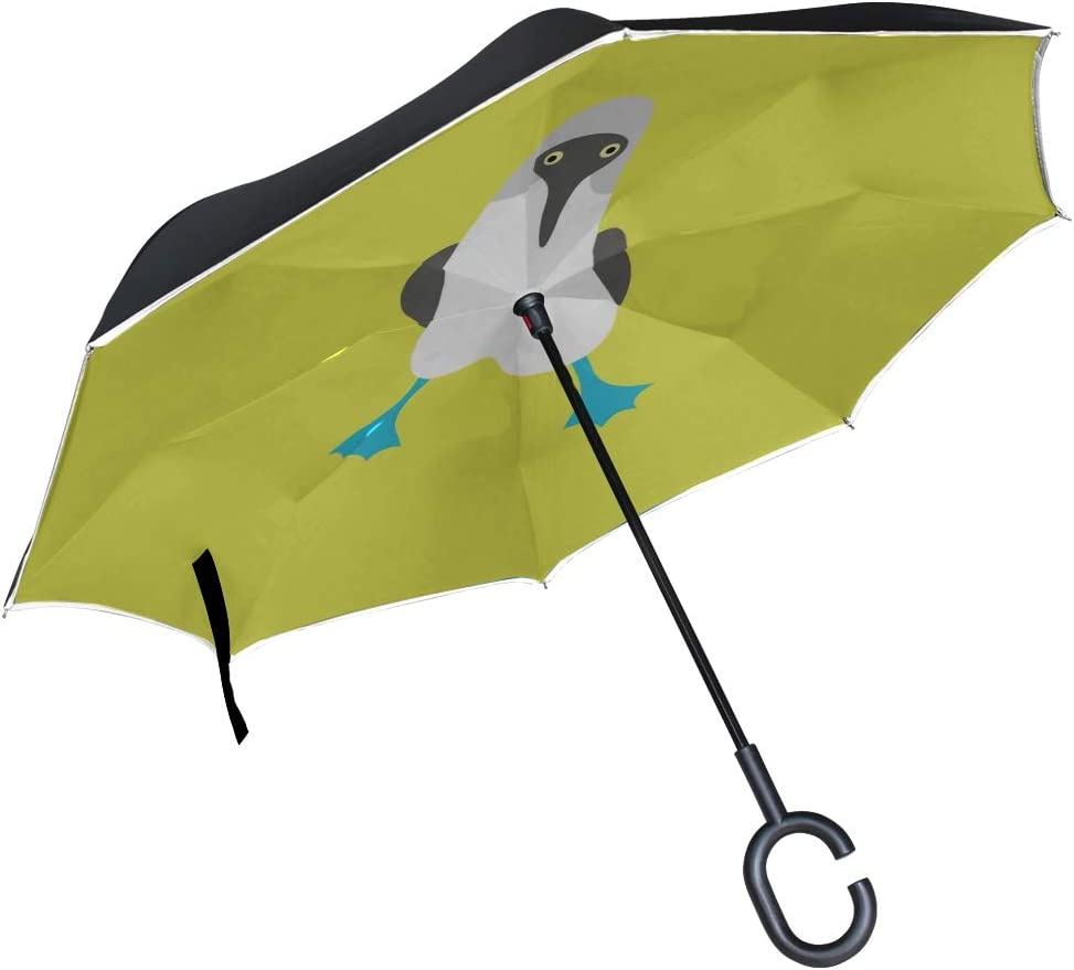 Double Layer Inverted Inverted Umbrella Is Light And Sturdy Blue Bird Reverse Umbrella And Windproof Umbrella Edge Night Reflection