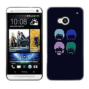 Qstar Arte & diseño plástico duro Fundas Cover Cubre Hard Case Cover para HTC One M7 ( Hipster Beard Moustache Hippie Hairstyle)