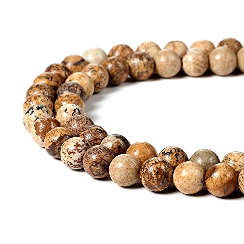 6mm Natural Picture Jasper Beads Round Gemstone Loose Beads for Jewelry Making ()