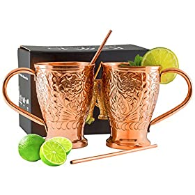 Moscow Mule Pure Copper Mugs with Bonus Copper Str...