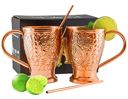 Moscow Mule Pure Copper Mugs with Bonus Copper Straws/Stir Sticks. Kamojo Embossed Gift Set
