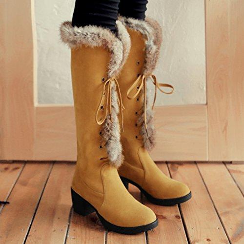 AIYOUMEI Damen Winter Kniehohe Stiefel mit Schnürung und 6cm