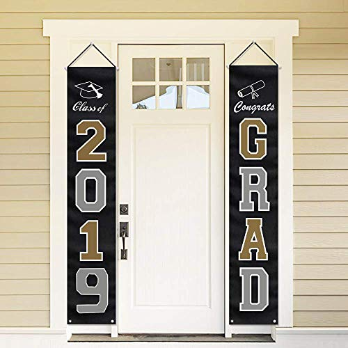 ORIENTAL CHERRY 2019 Graduation Party Decorations - Hanging Flags Banners Outdoor Home Door Porch Décor - Black Silver Gold