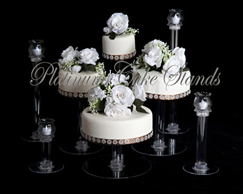 PLATINUMCAKESTAND 4 Tier Cascade Wedding Cake Stand w/4 Votive Candle Set (STYLE R404) ()