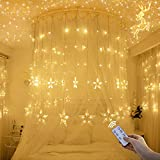 YMing 12-Star Window Curtain Lights, 8 Flashing Modes, 138pcs LED IP44 Waterproof Connectable Curtain String Lights with Remote Control, Warm White
