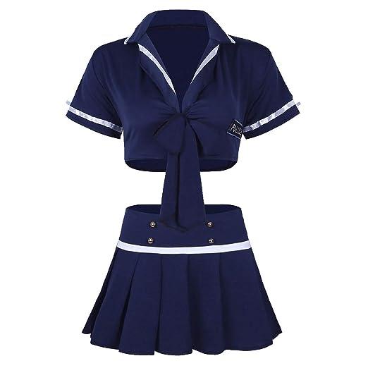 e5531b267f MSemis Woman Coplay Lingerie Set Schoolgirls Costume Police Uniform Crop  Top Pleated Mini Skirt Outfit Navy