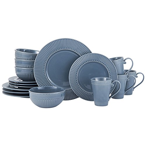 Italian Countryside Accents Fluted Blue 16 Piece Dinnerware