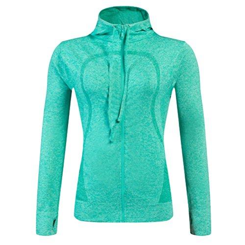 Zhhlaixing Sports Autumn Winter Run Women's Zipper Long Sleeve Running Jacket Tops Green