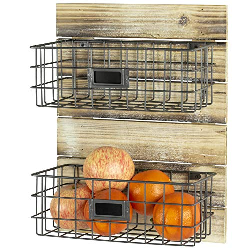 MyGift Rustic Wood & Metal Wire Wall-Mounted Storage Basket Rack with Label Holders (Baskets Kitchen Wall)