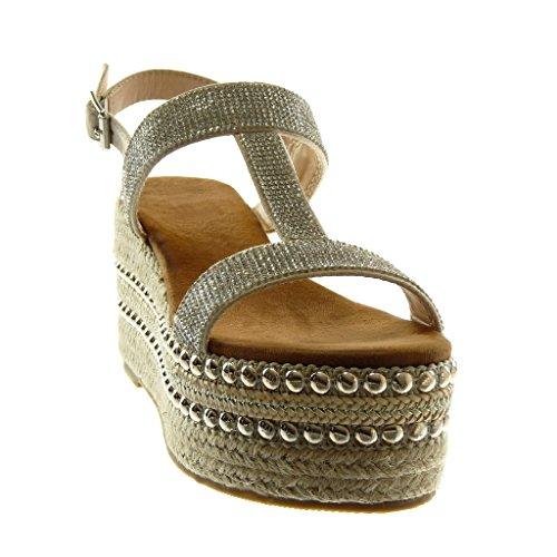 Plateforme Mule Cheville Mode 8 Corde Angkorly cm Beige Diamant Sandale Femme Compensé Salomés 5 Chaussure Lanière Strass Talon Plateforme Clouté xZqXw4