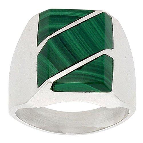 Sterling Silver Stripe Malachite - Sterling Silver Malachite Ring for Men Square Diagonal Stripes Solid Back Handmade, size 12