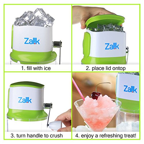 Zalik Ice Crusher Manual Hand Crank Ice Grinder For Fine Or Coarse Pieces - Strongest Heaviest Duty With Large 50 OZ Bucket - 430 Stainless Steel Blade - Essential Kitchen Tool - Bar Accessory by Zalik (Image #1)
