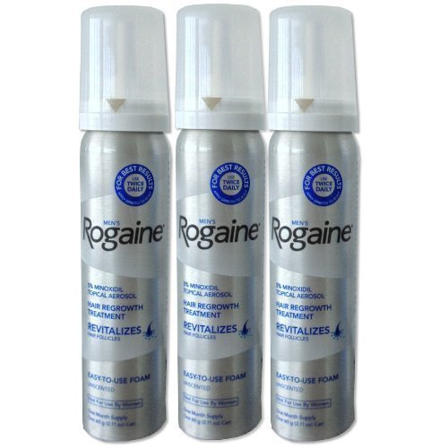 Rogaine for Men Hair Regrowth Treatment, 5% Minoxidil Topical Aerosol, Easy-to-Use Foam, 2.11 Ounce(Pack of 3)