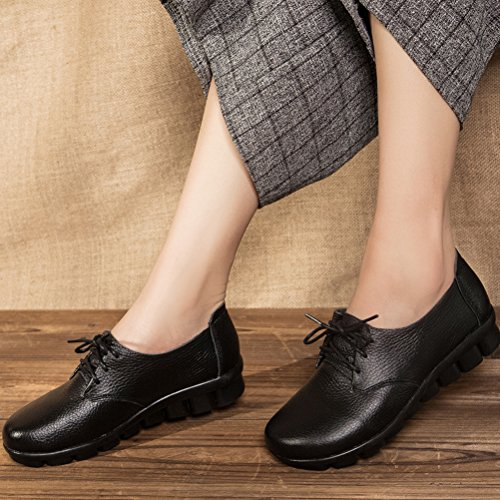 Mordenmiss Cozy Work Flat Trend Shoes Sneakers Black Up Women's Casual Lace qrrOfE