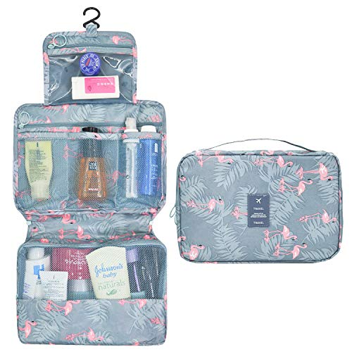 337118c95576 AIDIAN Hanging Toiletry Bag for Women Travel Makeup Cosmetic Compact  Organizer with Strong Zippers and Sturdy Hook Blue Pink Flamingo