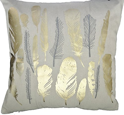 HOMETALE® Feather Gold Foil Print Decorative Throw Pillow COVER 18