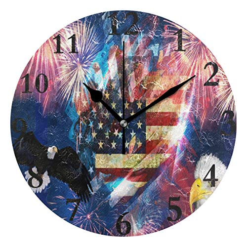 Ladninag Wall Clock Very Beautiful Independence Day Theme Silent Non Ticking Decorative Round Digital Clocks Indoor Outdoor Kitchen Bedroom Living Room