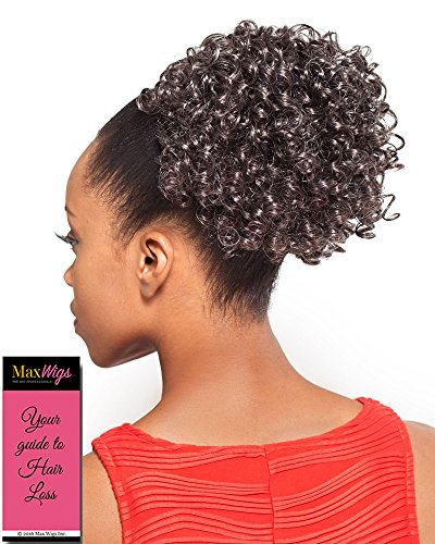 (DS003 Ponytail Color 280 - Foxy Silver Wigs Drawstring Curly Hairpiece Dome Short Synthetic African American Womens Bundle with MaxWigs Hairloss Booklet)