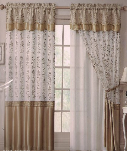 """Violette Embroidery Panel w/ Attached Valance & Backing 55""""x90""""+18""""(Beige/Gold)"""