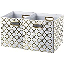 Baist gold cube storage bins,nice heavy duty fabric decorative storage cubes basket for nursery bedroom office large foldable square,2 pack