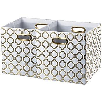 BAIST Gold Cube Storage Bins,Nice Heavy Duty Fabric Decorative Storage  Cubes Basket For Nursery