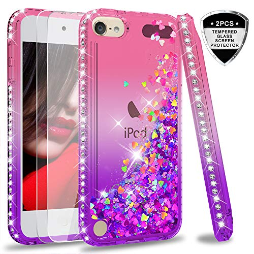 (iPod Touch 7 Case, iPod Touch 6 Case, iPod Touch 5 Case with Tempered Glass Screen Protector [2 Pack] for Girls, LeYi Glitter Liquid Clear Phone Case for Apple iPod Touch 7th/ 6th/ 5th Gen Pink/Purple)