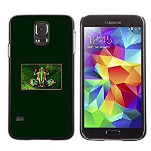 LECELL--Funda protectora / Cubierta / Piel For Samsung Galaxy S5 SM-G900 -- Tiny Frog Forest Green Rainforest --