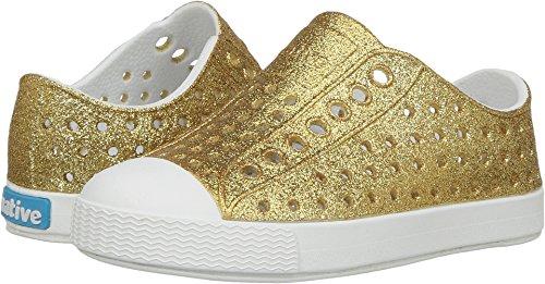 Native Kids Girls' Jefferson Bling Child-K Slip-On,Gold Bling Glitter/Shell White,C4 M US - C4 N