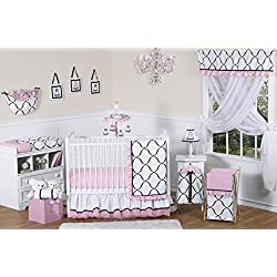 Pink, Black and White Princess Baby Girl Bedding 11pc Crib Set without bumper