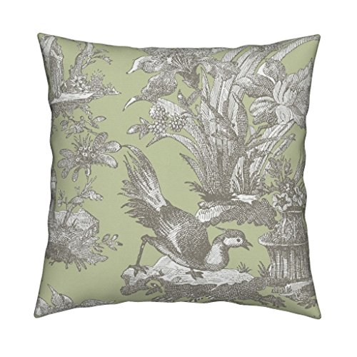 Roostery Toile Chinoiserie Asian Jade Javert Sylvan Green Eco Canvas Throw Pillow Cover Chinoiserie Toile ~ Javert On by Peacoquettedesigns Cover w Optional Insert