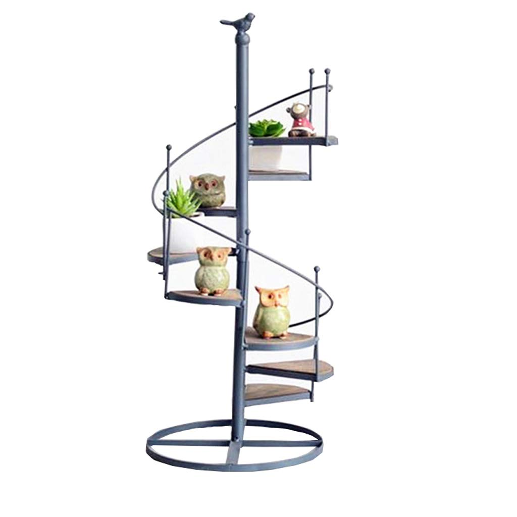 Minmin Retro Simple Wrought Iron Stair-Shaped Flower Stand Multi-Layer Wall Small Potted Ornaments Rack Storage Rack by Minmin (Image #1)