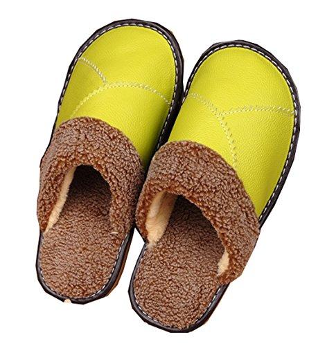 Blubi Dames Warme Pluche Leren Slipper Huis Slippers Groen