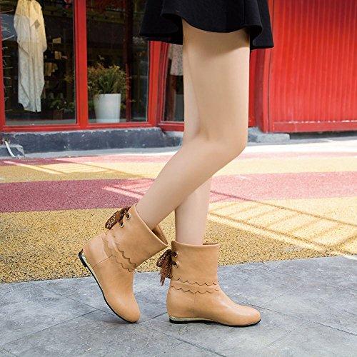 Latasa Womens Fashion Simpatici Nastri Mid-tacco Pull-on Brevi Casuali Stivali Slouchy Albicocca