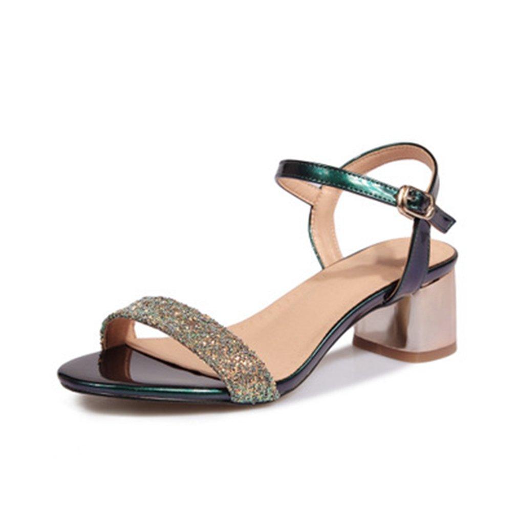 GIY Womens Glitter Open Toe Mid Heel Sandals Platform Wedding Party Chunky Block Heel Wedges Dress Pump