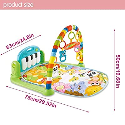 INiubi Large Baby Game Pad Music Pedal Piano Music Fitness Rack Crawling Mat 2 in 1 Infant Game Carpet Crawling Mat Educational Toys for Baby (Green): Toys & Games