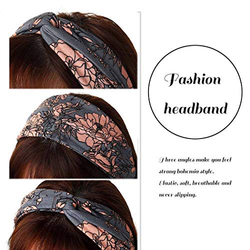 Catery Boho Headbands Criss Cross Headband Headpiece Bohemia Floal Twist Head Wrap Hair Band Vintage Stylish Elastic Turban Fabric Hairbands Fashion Hair Accessories for Women(Pack of 3) (Boho)