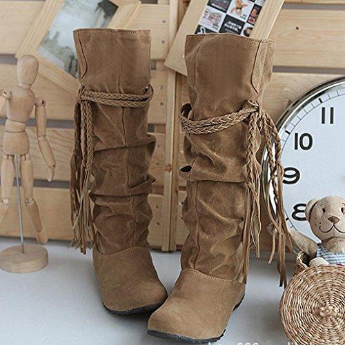 Damen Stiefeletten, SHOBDW Damen erhöhen Plattformen Oberschenkel hohe Tessals Stiefel Motorrad Schuhe Gelb
