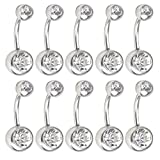 Women's Stainless Steel Belly Button Ring Body Jewelry Piercing Rings BarBell Gift Set 10Pcs Unisex