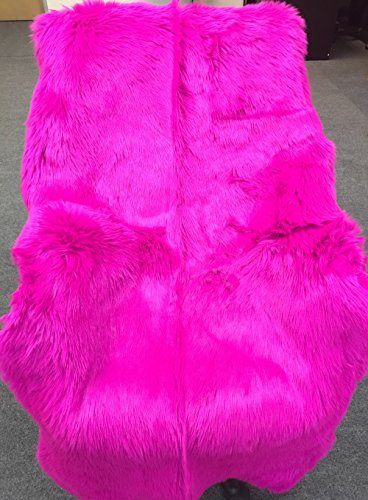 WPM Deluxe Soft Faux Sheepskin Chair Cover Seat Pad Shaggy Area Rugs for Bedroom Sofa Floor (2ft x 3ft, Hot Pink) (Pink Chair Hot)