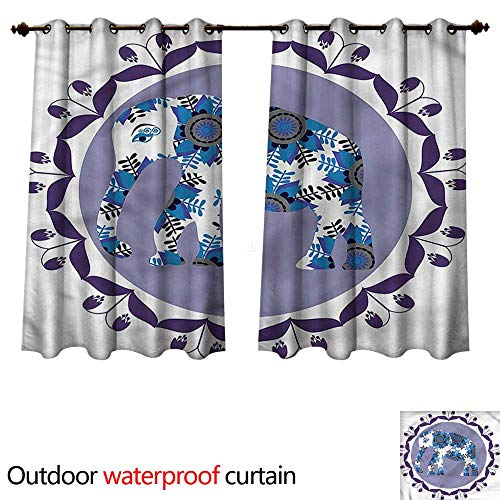 cobeDecor Ethnic Outdoor Curtains for Patio Sheer Medallion Elephant Tulip W72 x L72(183cm x 183cm)