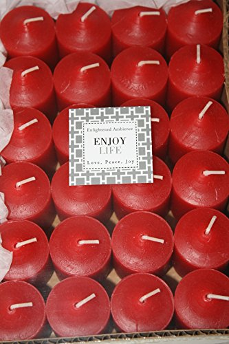 Enlightened Ambience 24 Dickens Christmas Red Highly Scented Votive Candles Long-Burning by Enlightened Ambience (Image #1)