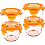 Wean Green Round Wean Bowls 6oz/165ml Baby Food Glass Containers - Carrot (Set of 4)